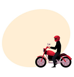 Motorcycle motorbike rider wearing helmet side vector
