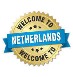 Netherlands 3d gold badge with blue ribbon vector