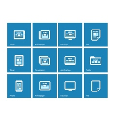 Newspaper icons on blue background vector image