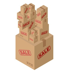 Sale of lot of cardboard boxes Set of paper vector image vector image