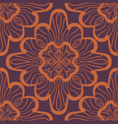 Seamless geometric pattern with brown ornamental vector