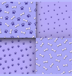 Seamless pattern with paws and bones vector