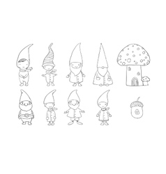 Set of cute cartoon gnomes Funny elves Hand vector image
