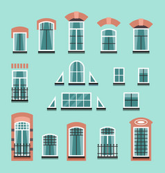 set of plastic or wooden window frames vector image