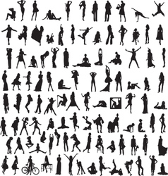set womens silhouettes vector image