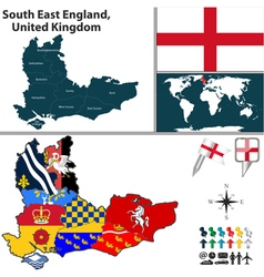 South east england with flags vector