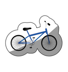 Sticker silhouette of sport blue bike in white vector
