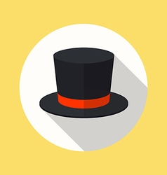Top hat flat icon vector image vector image