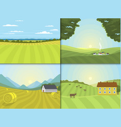 Village landscapes farm field vector