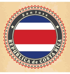 Vintage label cards of costa rica flag vector