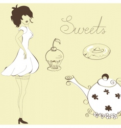 woman with sweets vector image vector image