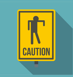 Yellow caution zombie sign icon flat style vector