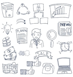 Business image element set doodles vector