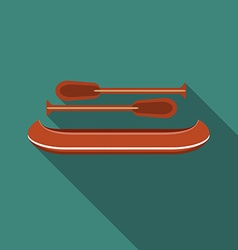 Flat design modern of canoe icon with long shadow vector