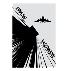 Black and white background with airplane vector