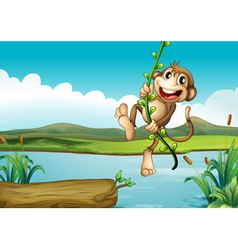A cheerful monkey playing with the vine plant vector