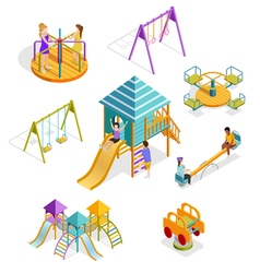 Isometric Swinging Kids Icon Set vector image