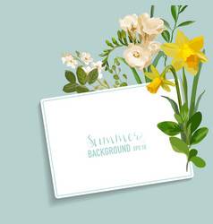 Vintage spring floral card with a tag vector