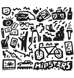 Hipsters things - doodles set vector