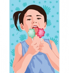 Kid with ice-cream vector