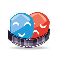 Filmstrip with genres scene to short film vector