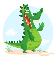 cartoon shy crocodile vector image