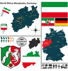 Map of North Rhine Westphalia vector image