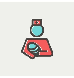 Nurse holding the baby thin line icon vector