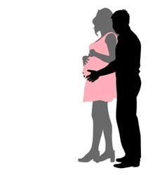 Silhouette happy pregnant woman and her husband vector