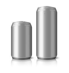 Two blank aluminum beer cans isolated on white vector