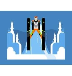 Ski jumping flat vector image