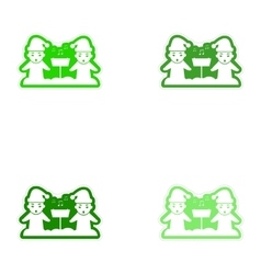 Set of paper stickers on white background children vector