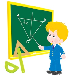 Schoolboy at lesson geometry vector