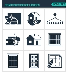 Set of modern icons construction of houses vector