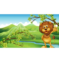 A lion in front of the river and the high vector image vector image