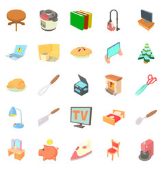Amenity icons set cartoon style vector