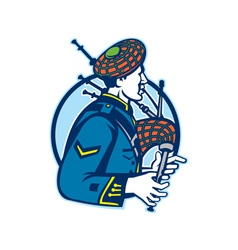 Bagpiper bagpipes scotsman retro vector