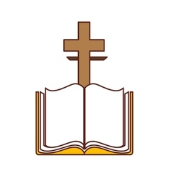 Bible with cross isolated icon vector