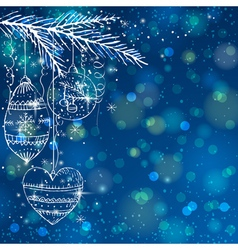 Blue brightness background with christmas balls vector