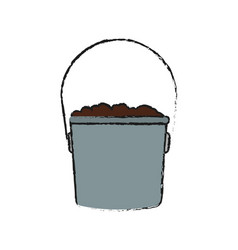 Bucket with soil vector