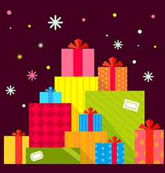 Christmas of the piles of presents on dark b vector image