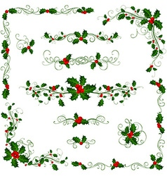 Christmas page dividers and decorations vector image