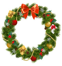 christmas wreath with mistletoe vector image vector image