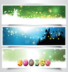 Collection of Easter backgrounds vector image vector image