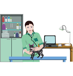 colorful veterinary care background vector image vector image