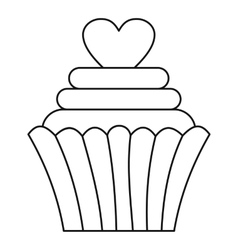Cupcake with heart icon outline style vector image vector image