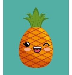 cute kawaii pineapple delicious icon design vector image vector image
