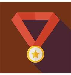 Flat award gold medal with star with long shadow vector