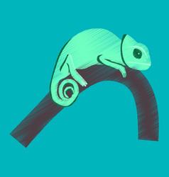 Flat shading style icon chameleon vector