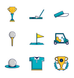 Game of golf icons set cartoon style vector